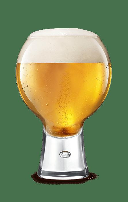 Bicchiere di birra bionda schiumosa