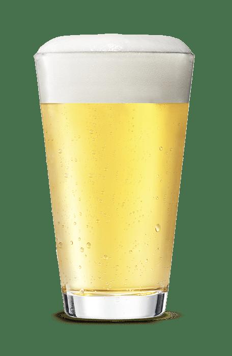 Bicchiere di birra bianca schiumosa